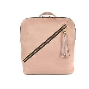 Pudrově růžový kožený batoh Carla Ferreri Elena