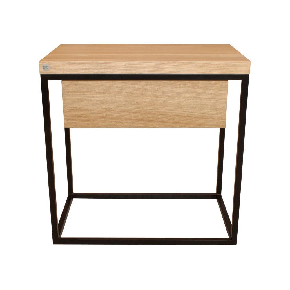 Černý noční stolek s deskou z dubového dřeva Take Me HOME Moonlight, 50 x 30 cm