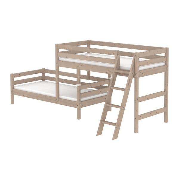 Brązowe dziecięce łóżko piętrowe z drewna sosnowego z drabinką Flexa Classic