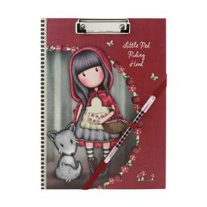 Set červených kancelářských desek s papíry a propiskou Santoro London Gorjuss Little Red Riding Hood