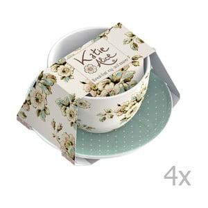Sada 4 šálků s podšálky Katie Alice Cottage Flower, 355 ml