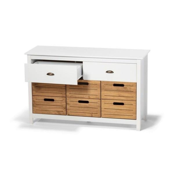 Bílá komoda z borovicového dřeva s 8 šuplíky loomi.design Ibiza