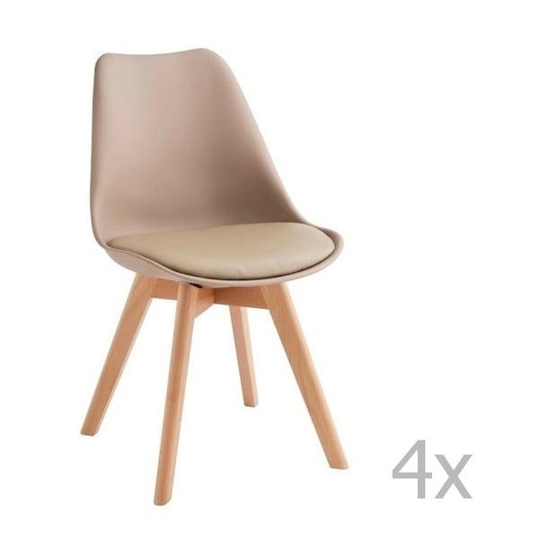 Zestaw 4 beżowych krzeseł Design Twist Tom