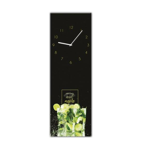 Nástěnné hodiny Styler Glassclock Mojito, 20 x 60 cm