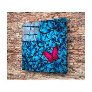 Skleněný obraz 3D Art Azul Butterfly, 30x30cm