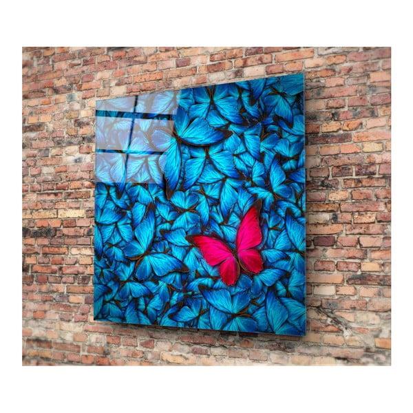Skleněný obraz Insigne Azul Butterfly, 30x30cm