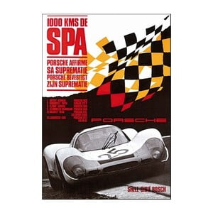 Plakát Porsche 1000 km Spa, 70x50 cm