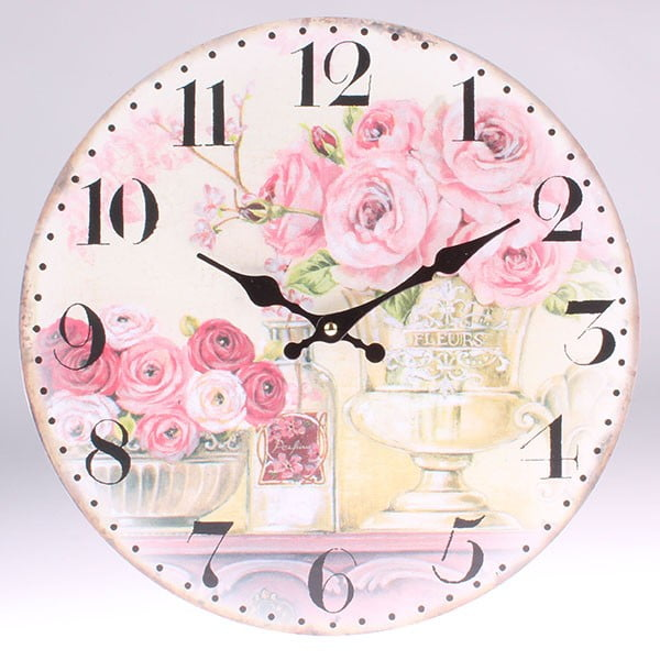 Dřevěné hodiny Paris Flowes