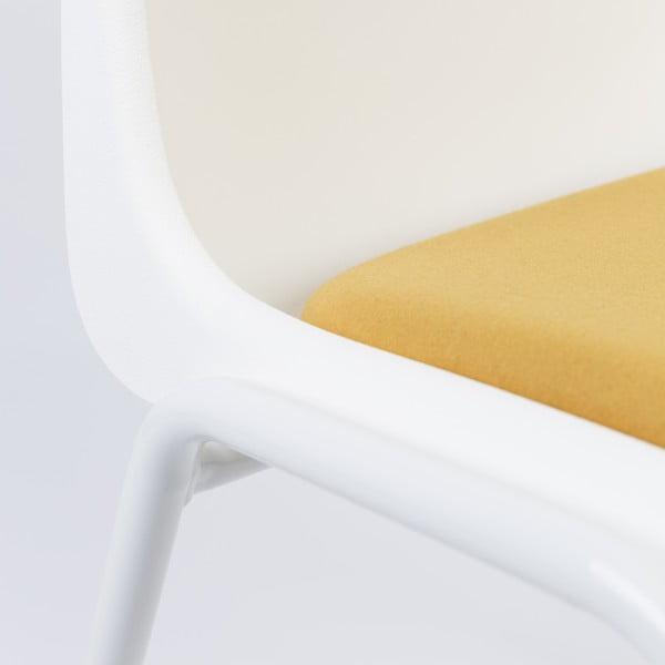 Židle Back to Gym, bílá/okrová