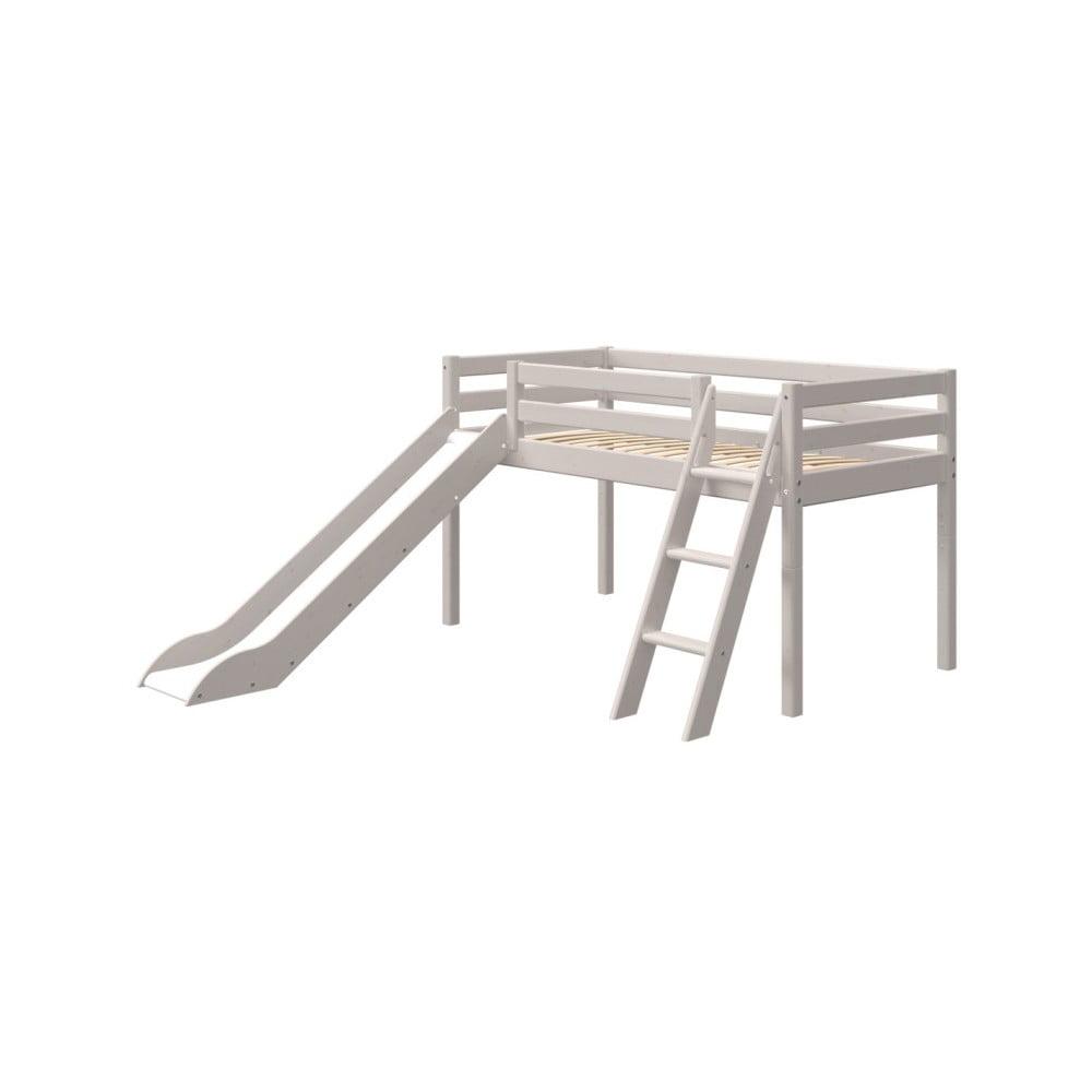 Šedá dětská postel z borovicového dřeva s žebříkem a skluzavkou Flexa Classic, výška 120 cm