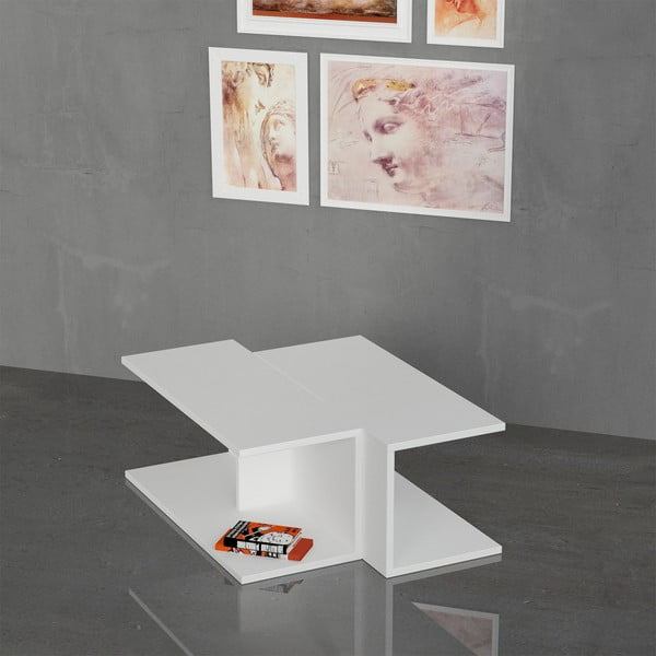 Kávový stolek Double, bílý