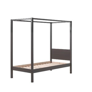 Šedá dětská postel Vipack Pino Canopy, 90x200cm