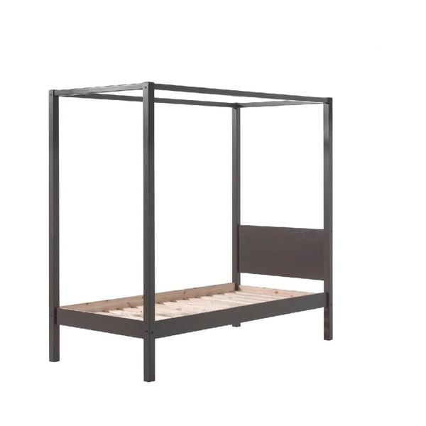 Szare łóżko dziecięce Vipack Pino Canopy, 90x200 cm