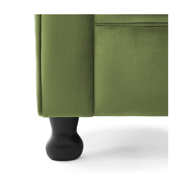 Olivově zelená pohovka pro dva Vivonita Chesterfield
