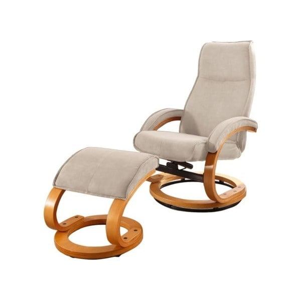 Rika bézs állítható pihenő fotel lábtartóval, textil huzat - Støraa
