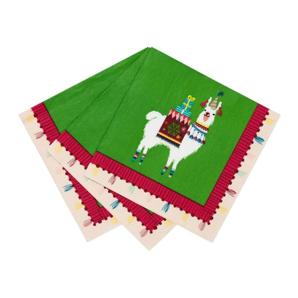 Zestaw 20 serwetek papierowych Talking Tables Lama, 33x33 cm