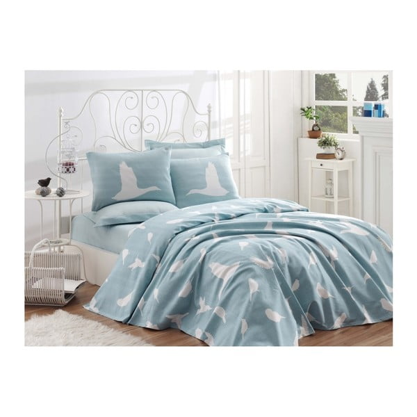 Bavlněný přehoz přes postel na jednolůžko Single Pique Mint, 160 x 235 cm