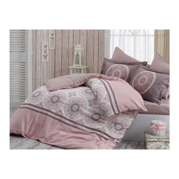 Lenjerie de pat cu cearșaf din bumbac satinat Silvana,200x220cm