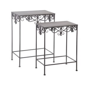 Set 2 stolků Metall Grey