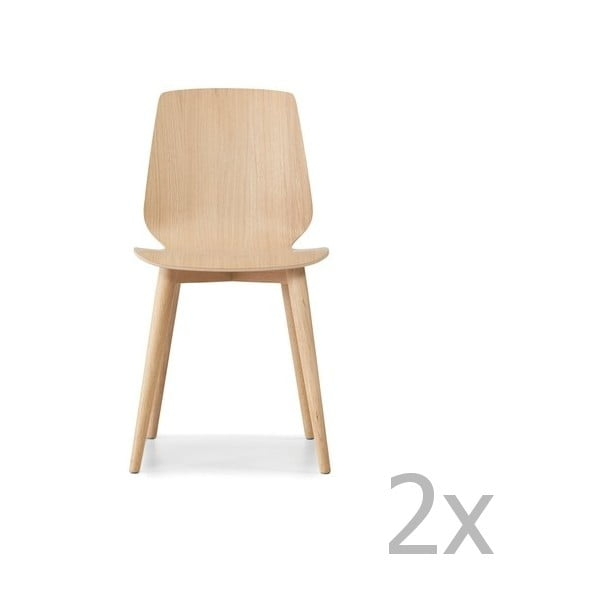 Komplet 2 jasnobrązowych krzeseł z nogami z litego drewna dębowego WOOD AND VISION Cut
