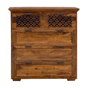 Comodă din lemn de palisandru cu 5 sertare Massive Home Rosie