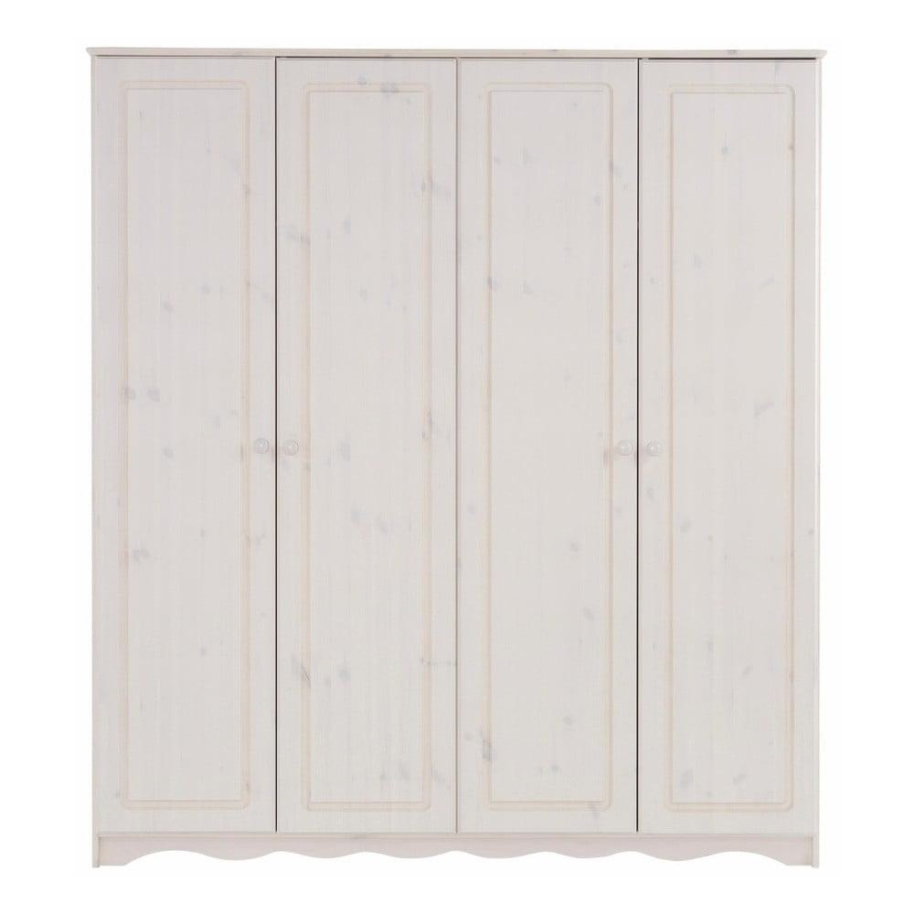 Bílá čtyřdveřová šatní skříň z masivního borovicového dřeva Støraa Amanda