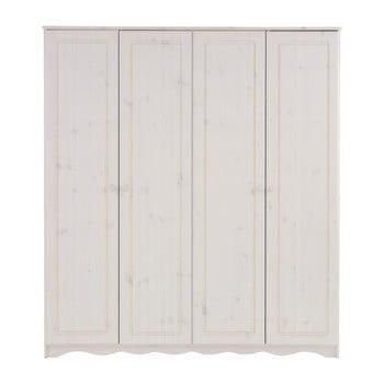 Șifonier din lemn masiv de pin cu 4 uși Støraa Amanda, alb