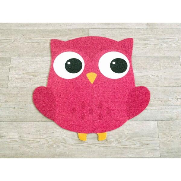 Dětský fuchsiově růžový koberec Sova, 100x100cm