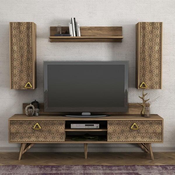 Set TV komody a nástěnných skříněk v dekoru ořechového dřeva Yakamoz
