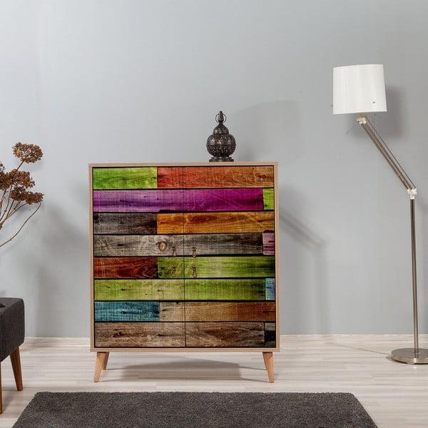 Dřevěná skříň Ananias Rainbow, výška 111cm