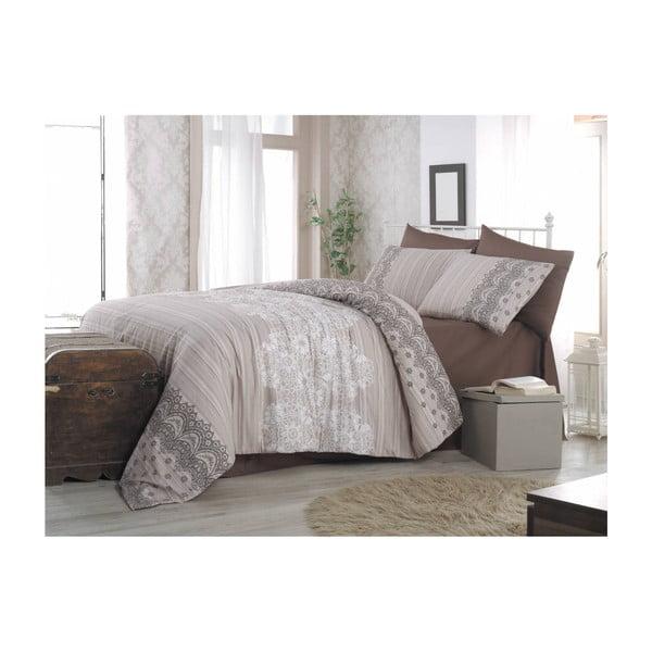 Lenjerie de pat cu cearșaf Cream, 140 x 200 cm, bej