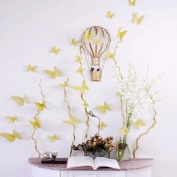 Set 12 autocolante cu efect 3D Ambiance Butterflies auriu