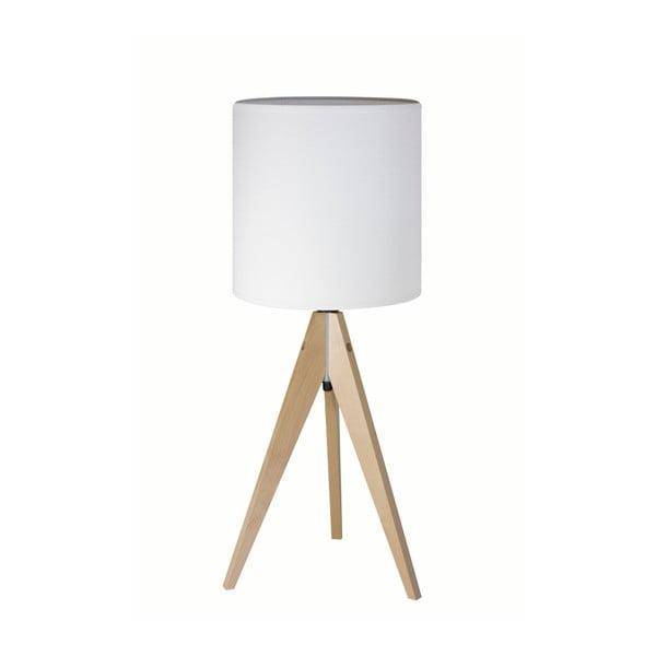 Bílá stolní lampa Artist, bříza, Ø 25 cm
