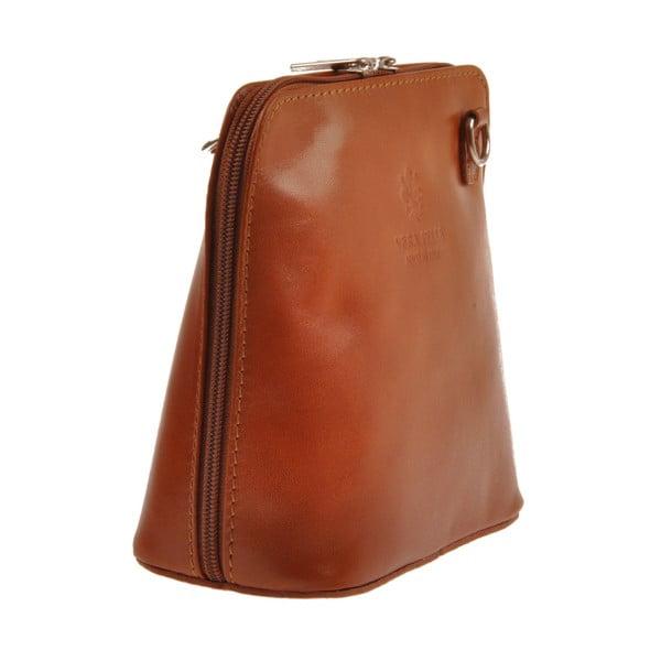 Měděně hnědá kožená kabelka Florence Bags Vaire