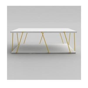 Bílý konferenční stolek se žlutým detailem Rafevi Tars