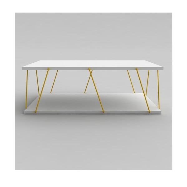 Biały stolik z żółtymi elementami Rafevi Tars