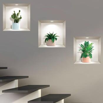 Set 3 autocolante 3D pentru perete Ambiance Houseplants