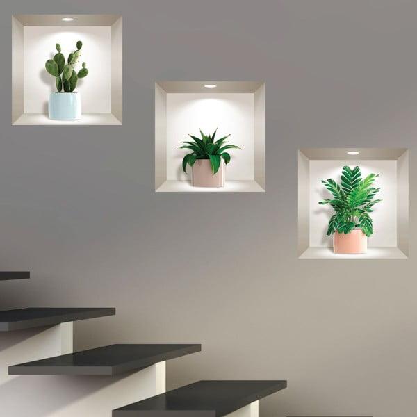 Sada 3 3D samolepek na zeď Ambiance Houseplants