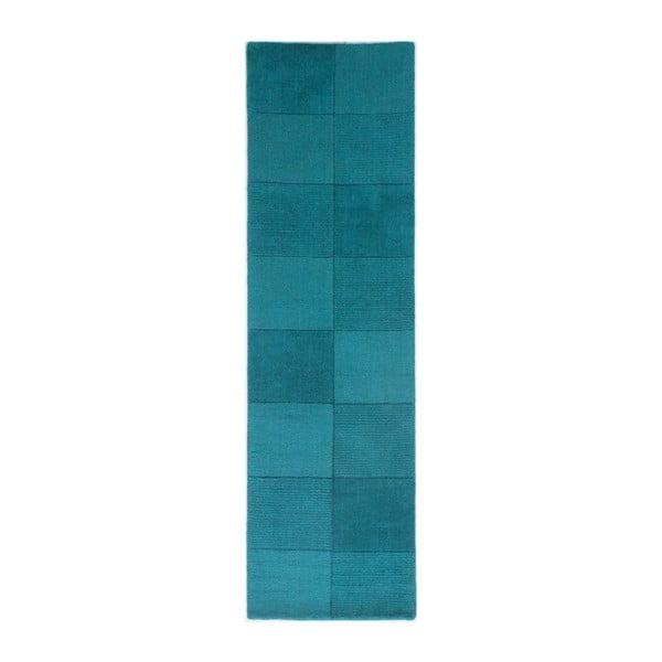 Vlněný běhoun Flair Rugs Sqaures Teal,60x230cm