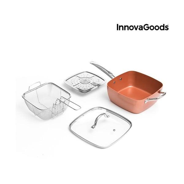 Set kermaickej panvice, košík na vysmážanie, naparovače a pokrievky InnovaGoods
