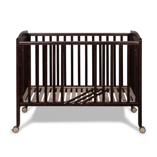 Pătuț din lemn cu roți și grilaj ajustabil YappyKids Qu, 120 x 60 cm, maro închis