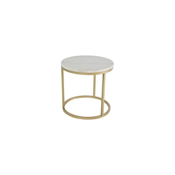 Accent márvány tárolóasztal bronzszínű vázzal, ⌀ 50 cm - RGE