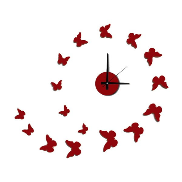 Ceas de perete autocolant Mauro Ferretti Butterflies Red, ⌀ 60 cm