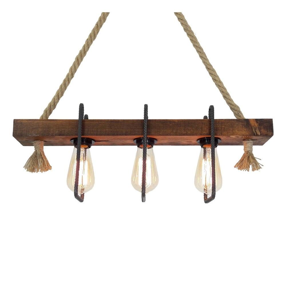 Dřevěné stropní závěsné svítidlo Demir, 3 žárovky
