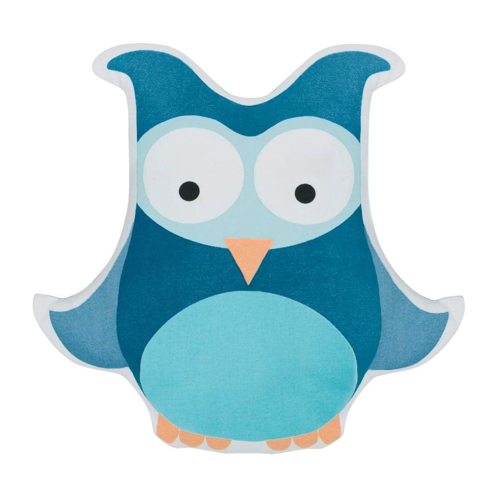Dětský modrý polštář s potiskem Sebra Owl Large