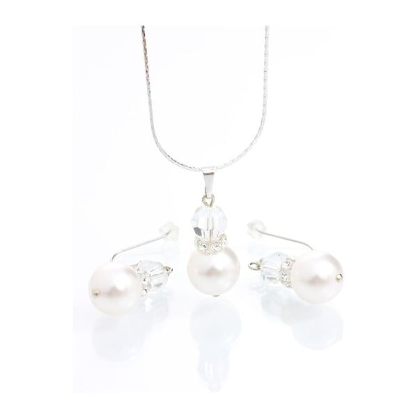 Set náhrdelníku a náušnic Yasmine Pearl Crystal