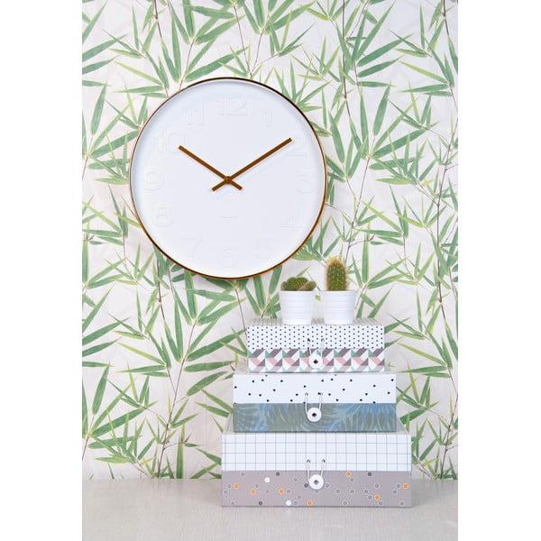 Bílé hodiny Present Time Minimal Copper