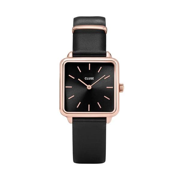Czarny zegarek damski z kwadratowym cyferblatem Cluse La Tétragone
