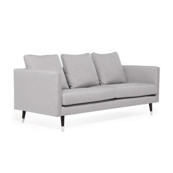 Světle šedá trojmístná pohovka s nohami ve stříbrné barvě Vivonita Meyer