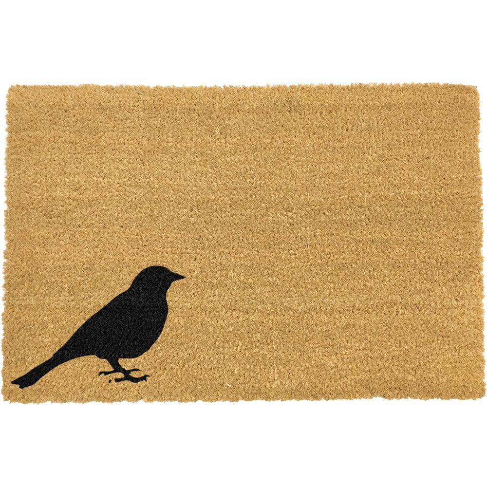 Rohožka z přírodního kokosového vlákna Artsy Doormats Bird,40x60cm